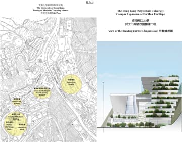 Proposal for new buildings at the University of Hong Kong and the Polytechnic University. Photo: LegCo.