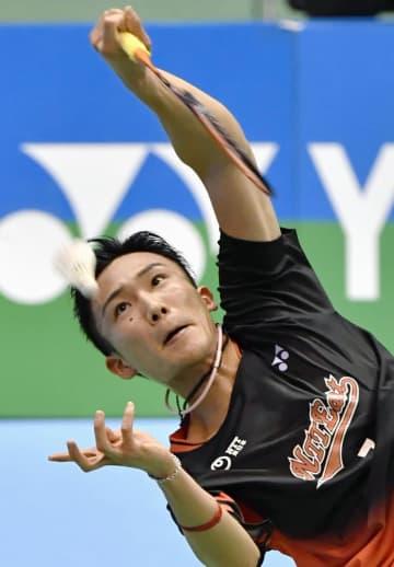 男子シングルス準々決勝で勝利した桃田賢斗=駒沢体育館
