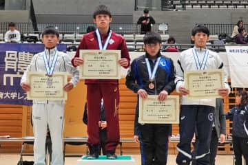 <レスリング>2019年東日本学生秋季選手権・新人戦/男子フリースタイルA・表彰式