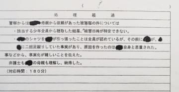 開示され裁判所に提出された武南署の「管理票」(原告提供)