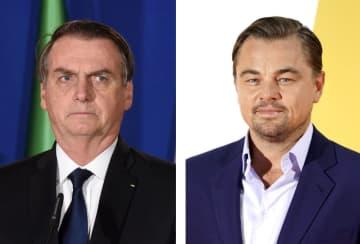 ブラジルのボルソナロ大統領(左、UPI=共同)、レオナルド・ディカプリオさん(ゲッティ=共同)
