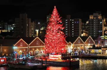 「はこだてクリスマスファンタジー」が始まり、観光名所赤レンガ倉庫前の海上で明かりがともった巨大ツリー=30日夜、北海道函館市