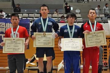 <レスリング>2019年東日本学生秋季選手権・新人戦/男子フリースタイルB・表彰式