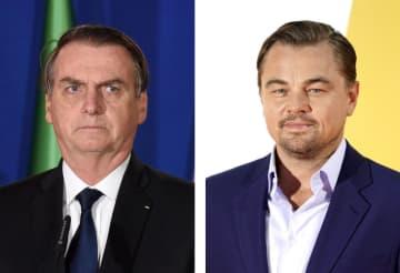 左からブラジルのボルソナロ大統領(UPI=共同)、レオナルド・ディカプリオさん(ゲッティ=共同)