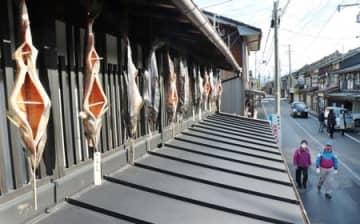 町屋の軒先で寒風に揺れる塩引き鮭=1日、村上市庄内町