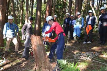 初心者にチェーンソーの使い方から指南した自伐型林業の研修=大磯町内
