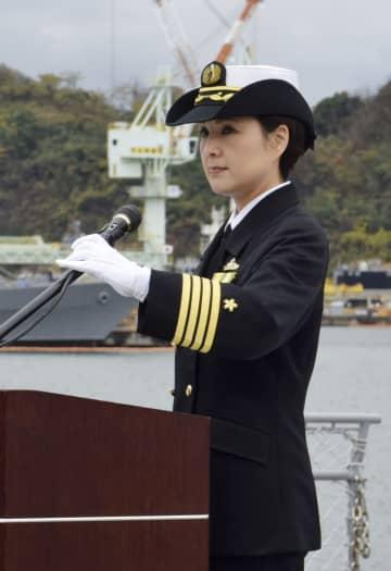 イージス艦初の女性艦長として「みょうこう」艦長に着任した大谷三穂1等海佐=2日、京都府舞鶴市