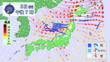 3日(火)午後7時の雨雪と風の予想