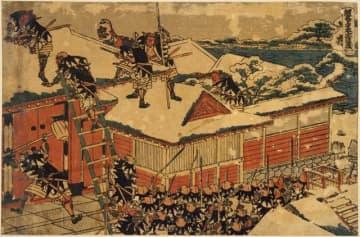 葛飾北斎が描いた歌舞伎「仮名手本忠臣蔵」の十一段目(国立国会図書館蔵)