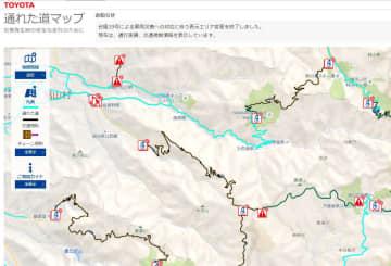 実際に走行している車に搭載した通信機器を使い、走行可能な道路を地図に反映したトヨタ自動車の「通れた道マップ」(トヨタ自動車のHPから)