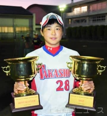 MVPと最優秀打者に選ばれた高崎商高の高橋。日体大で競技を続けるため3年の今も練習は欠かさない=高崎商高グラウンド