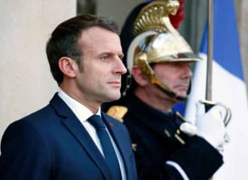 PARIS, FRANCE - NOVEMBER 12: French President Emmanuel Macron welcomes President of the Democratic Republic of the Congo Felix Tshisekedi Tshilombo prior a meeting at the Elysee Presidential Palace on November 12, 2019 in Paris, France. Felix...