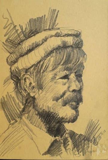 イクバル・タルナクさん提供 タルナクさんが描いた中村哲医師の肖像