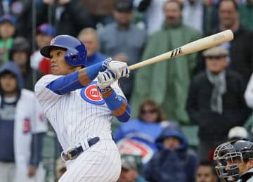 Addison Russell #27 of the Chicago Cubs