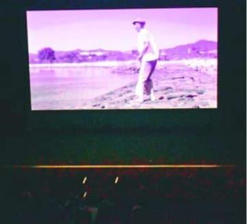 お盆をテーマにした映画「ぼに~迎火~」が上映された完成披露会=北島町の町創世ホール