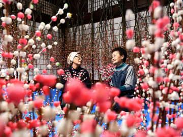 花もち作りに励む主婦ら=4日午前11時5分、高山市江名子町、飛騨の花もち組合高山工房