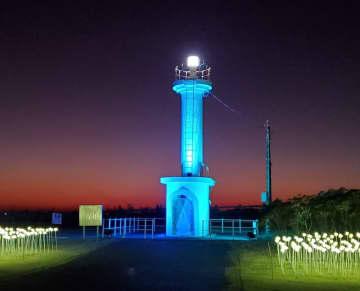 """千葉県初!全国で2例目 旭市飯岡灯台をライトアップ 新たな""""映え""""スポットに"""