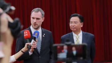 Zdenek Hrib (left) during a visit to Taiwan in March 2019. Photo: Facebook via Zdenek Hrib.