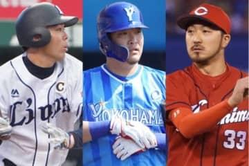 MLB挑戦を表明している西武・秋山翔吾、DeNA・筒香嘉智、広島・菊池涼介(左から)【写真:荒川祐史】