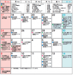2019年11月17日~12月15日のカレンダー