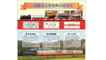 小湊鐵道災害復興応援切符 表面(上)と裏面(下)