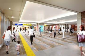 横浜駅地下1階の中央自由通路と西口地下街をつなぐ新通路のイメージ図(JR東日本横浜支社提供)