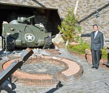 ミリタリーゾーンに置かれた戦車の実物大模型