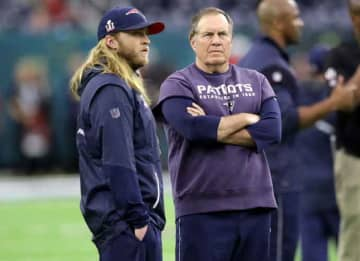 HOUSTON, TX - FEBRUARY 05: Head coach Bill Belichick of the New England Patriots and safties coach Steve Belichick walk the field before Super Bowl 51 against the Atlanta Falcons at NRG Stadium on February 5, 2017 in Houston, Texas.