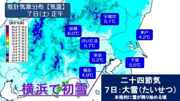 けさは横浜で初雪 あすは寒さから解放