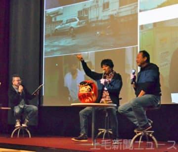 撮影時のエピソードを語る(左から)向井さん、山崎さん、松岡さん