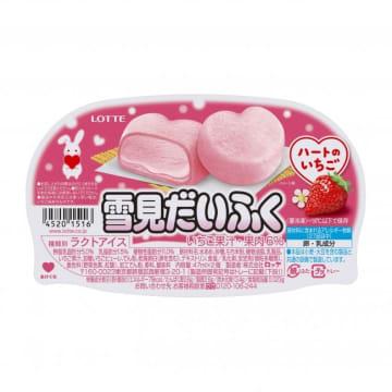 まぁるいピンクのハート形 甘酸っぱいいちごアイスの「雪見だいふく」 画像