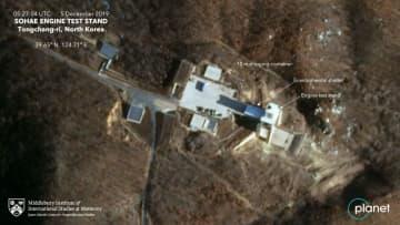 5日に撮影された北朝鮮東倉里の「西海衛星発射場」にあるエンジン実験施設の衛星写真(プラネット・ラブズ/ミドルベリー国際大学院モントレー校ジェームズ・マーティン不拡散研究センター提供、共同)