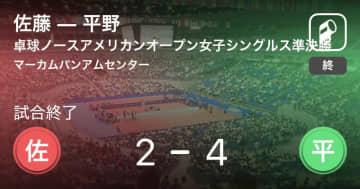 【卓球ノースアメリカンオープン女子シングルス準決勝】平野が佐藤との接戦を制す 画像