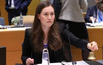 2日、ベルギー・ブリュッセルでの会議に出席したフィンランドのサンナ・マリーン運輸・通信相(ゲッティ=共同)