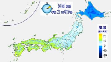 9日(月)午後2時の気温分布