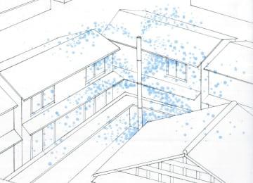 「加賀鳶IoTスプリンクラー」から建物に水がまかれるイメージ(石川工業高専提供)