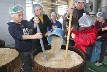 しょうゆ仕込み 長岡で親子ら体験 新潟県産の大豆と小麦使用