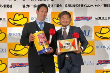 最優秀バッテリー賞に輝いた西武・増田達至(左)と森友哉【写真:安藤かなみ】