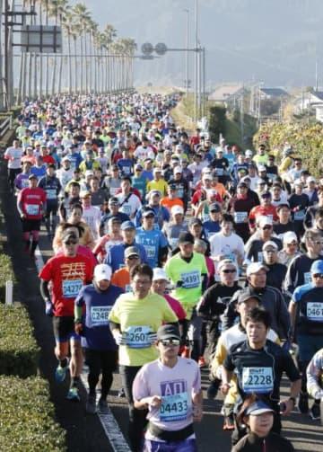 フルマラソンでゴールを目指して力走する選手たち=8日午前、宮崎市熊野