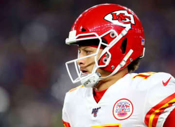 FOXBOROUGH, MASSACHUSETTS - DECEMBER 08: Patrick Mahomes #15 of the Kansas City Chiefs looks on during the game against the New England Patriots at Gillette Stadium on December 08, 2019 in Foxborough, Massachusetts.