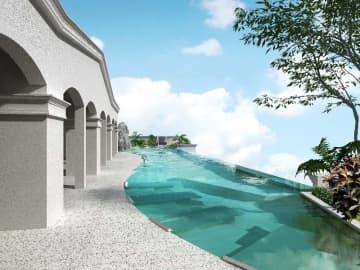2020年3月に開業するベッセルホテルズ初のリゾートホテル「レクー沖縄北谷スパ&リゾート」のインフィニティプールのイメージ図(ベッセルホテル開発提供)