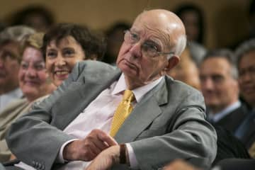 Former Federal Reserve Chairman Paul Volcker attends the Inaugural Michel Camdessus Central Banking Lecture on financial stability on July 2, 2014 in Washington, D.C. - Kris Tripplaar/Sipa USA/TNS