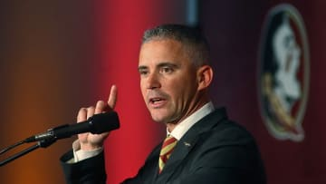Florida State coach Mike Norvell speaks during his introductory news conference in Tallahassee, Fla. - MATT BAKER/Tampa Bay Times/TNS
