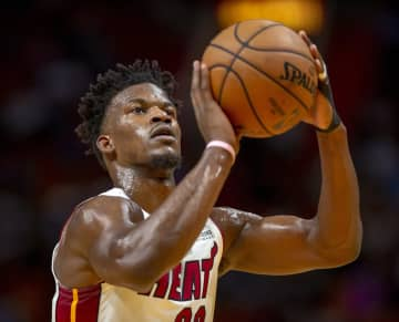 Miami Heat guard Jimmy Butler (22) shoots a free throw during the first quarter against the Chicago Bulls on Sunday, Dec. 8, 2019 at AmericanAirlines Arena in Miami, Fla. - Daniel A. Varela/Miami Herald/TNS