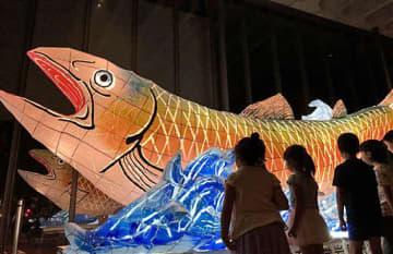藤本さんたちが今年制作した「サケねぶた」。来年は中型ねぶたの制作を目指している(藤本さん提供)