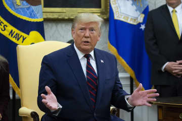President Donald J. Trump delivers remarks in the Oval Office of the White House in Washington, D.C., on October 16, 2019. - Abaca Press/Abaca Press/TNS