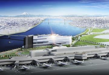 羽田空港国際線ターミナルに直結する「羽田エアポートガーデン」(中央)のイメージ(住友不動産提供)