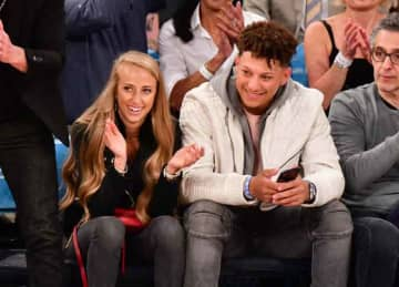 NEW YORK, NY - MARCH 30: Brittany Matthews and Patrick Mahomes attend Miami Heat v New York Knicks game at Madison Square Garden on March 30, 2019 in New York City.