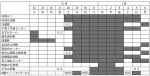 公共施設年末年始の開館カレンダー