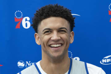 Philadelphia 76ers' Matisse Thybulle talks to the media after practice. - JOSE F. MORENO/The Philadelphia Inquirer/TNS